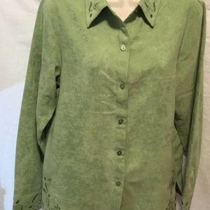 Relativity Womens Sz M Green Button Front Shirt Lo